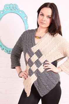 Ravelry: Cable Crossover pattern by Nicky Epstein A modern silhouette mixes with graphic color for a truly unique knit. The cable lover will feel inspired to make something that is definitely a conversation-starter. Knitting Blogs, Loom Knitting, Knitting Stitches, Crochet Designs, Knitting Designs, Crochet Poncho, Knit Crochet, Crossover, Crochet Clothes