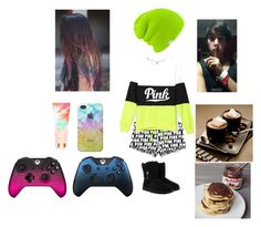 """""""Gaming and hot chocolate with pancakes with Nutella with Lukey 😂💜"""" by bettyrollic ❤ liked on Polyvore featuring Victoria's Secret, Brooks, UGG and Microsoft"""