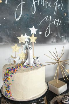 space theme cake party styling