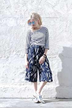 Polette Shades, L.L Bean Striped Shirt, Topshop Leaf Print Culottes, Forever 21 Silver Point Oxfords