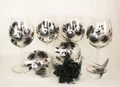 HandPainted Wine Glasses  Abstract Silver and by HandPaintedPetals, $72.00