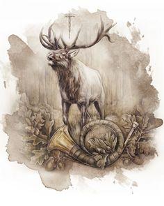 Portrait von einem Hirsch im Wald. Portrait of a stag in the forest.