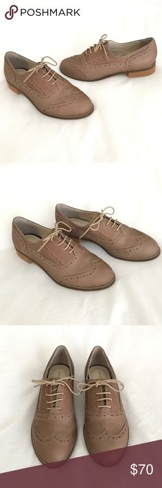 NWOT Genuine Leather Tan Oxfords Handmade in Korea Brand new, sample shoes so some very gentle wear on soles from trying on. Genuine leather handcrafted in Korea. These are Korean Size 230 which equals US 6. Beautiful shoe. Smoke free pet friendly. Unable to model, sorry. Thank You For Being Shoe Shoes Flats & Loafers
