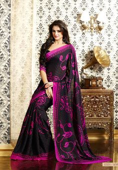 Black Colored all over designed Semi Crepe Saree and Black Colored Blouse Part @ Rs. 980 http://www.shreedevitextile.com/women/sarees/synthetic-fancy-sarees/shree-devi/black-colored-semi-italian-crepe-12231