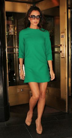 green dress, nude heels, can pair with tan/brown leopard accessory