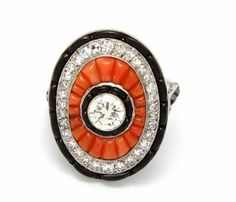 Antique 1.74 ctw. Old and Single Cut Diamonds Onyx Coral 18k 8.9 g Size 7.5 Ring #Cocktail