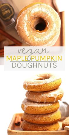 Fall into fall with these delicious vegan pumpkin donuts. Sweetened with maple syrup and topped with cinnamon-spiced glaze, these vegan pastries are the perfect fall sweet treat! Donut Recipes, Vegan Breakfast Recipes, Vegan Sweets, Delicious Vegan Recipes, Healthy Dessert Recipes, Vegan Desserts, Protein Desserts, Delicious Donuts, Breakfast Options
