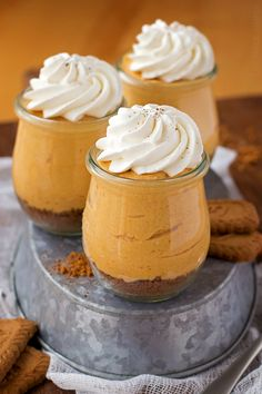 Individual No-Bake Pumpkin Cheesecakes perfect for the holidays!! It will be a guest favorite (plus, they're easy AND delicious!!) Get the recipe on { lilluna.com }