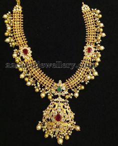 Jewellery Designs: Kundan Gold Necklace With Gemstones