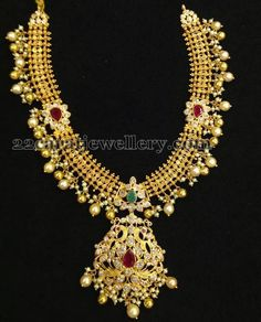Jewellery Designs: Kundan Gold Necklace With Gemstones
