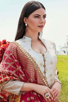 Buy Beige Rubber Printed Cotton Silk Designer Salwar Kameez Online WhatsApp us for Purchase & Inquiry : Bu Designer Salwar Kameez, Salwar Kameez Neck Designs, Silk Kurti Designs, Kurta Neck Design, Salwar Designs, Kurta Designs Women, Kurti Designs Party Wear, Punjabi Suit Neck Designs, Buy Salwar Kameez Online