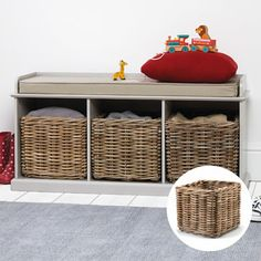 SAVE Buy Stone Abbeville Bench (with Natural Cushion) & 3 Storage Baskets Toy Storage Units, Toy Storage Baskets, Bench With Storage, Cube Storage, Hallway Storage, Hallway Bench, Natural Cushions, White Bench, Hallway Inspiration
