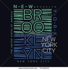 Vector illustration on the theme of New York City, Brooklyn. Typography, t-shirt graphics, print, poster, banner, flyer, postcard #CityVector Creative Typography Design, Lettering Design, Tee Design, Print Design, Graphic Design, City Vector, 2 Logo, Design Quotes, Print Poster