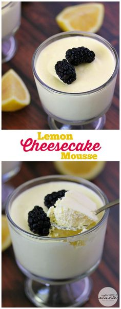 Lemon Cheesecake Mousse - a delightful no-bake dessert made with only three ingredients! Each bite is rich, creamy and packed with flavor! Try this recipe today and let us know what you thought! (Low Carb No Baking Cookies) Sugar Free Desserts, Lemon Desserts, Lemon Recipes, Mini Desserts, Low Carb Desserts, Just Desserts, Low Carb Recipes, Sweet Recipes, Delicious Desserts