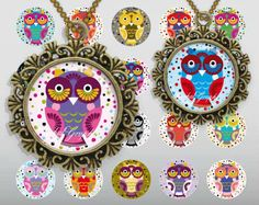 Cartoon Cute Little Owls Digital Collage Sheet 1 inch Circles Bottle cap images glass tiles resin pendants cabochon button JPG  by BaikalGraphics, $3.50