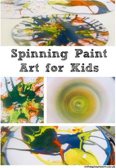 Spinning Paint Pictures - In The Playroom Classroom Art Projects, Craft Projects For Kids, Fun Crafts For Kids, Art For Kids, Art Children, Kids Diy, Kids Painting Activities, Painting For Kids, Craft Activities