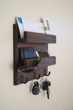VOSAREA Llaves de madera ganchos cajas de almacenamiento pared estante colgante llavero organizador Crafts accesorios gris
