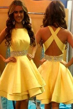 Outlet Outstanding Short Wedding Dress Open Back Yellow Tiered Homecoming Dresses Short Prom Dress Party Gowns Hoco Dress Yellow Homecoming Dresses, Yellow Party Dresses, Hoco Dresses, Backless Prom Dresses, Prom Party Dresses, Yellow Dress, Cute Dresses, Wedding Dresses, Dress Prom