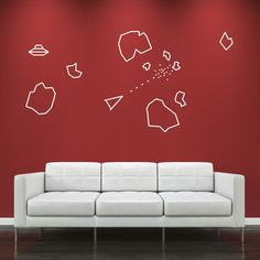 Asteroids Wall Decal Pack - Cult 70's Video Gamer Stickers for ...