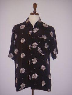 BURMA BIBAS Hawaiian Shirt Geometric Black White L #BurmaBibas #Hawaiian