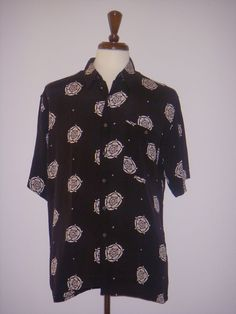 BURMA BIBAS Hawaiian Shirt Geometric Black White L #BurmaBibas #Hawaiian