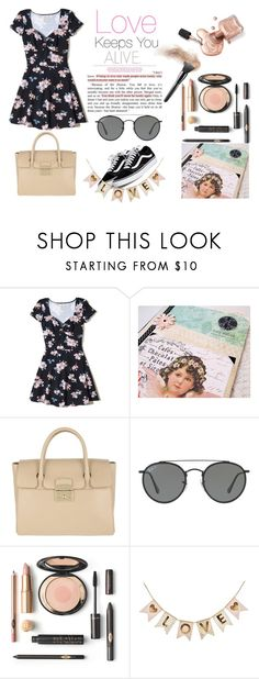 """Love keeps you Alive !"" by riagr ❤ liked on Polyvore featuring Hollister Co., Furla, Ray-Ban, makeup, dresses, fashionset and polyvorecontest"