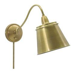 House of Troy Hyde Park Swing Arm Wall Lamp in Weathered Brass with Metal Shade