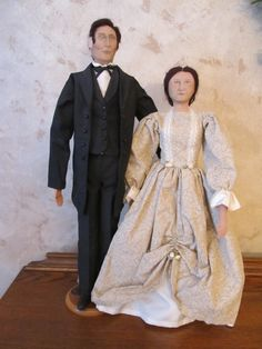 Hand made, one of a kind,Abe and Mary Lincoln.  Laurie Ragan Fine Art, Ottawa, Il.