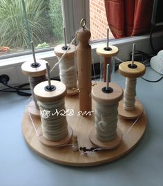 My homemade 6ply bobbin lazy kate