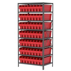 "[+2]  Akro-Mils AS247930844R Steel Shelving Kit with 56 Bins, 24"" x 36"" x 79"", Gray/Red"