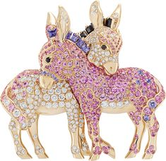 VCA. Diamonds, pink and mauve sapphires and black spinels set in 18K rose gold. #VanCleef&Arpels #VCA #Noah'sArk #ArchedeNoé #Brooch #Broche #Animals #Animaux #Ane #Donkey #Anesse #HighJewellery #FineJewelry #diamondbroach