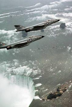 fabforgottennobility:  Two F-101 Voodoo aircraft over Niagara Falls - 1981