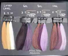 So this is also from guy tang 's FB live last. So this is also from guy tang 's FB live last Friday. Check out this swatch of the Dusty Lavender series on different hair levels. Lavender Hair Colors, Lilac Hair, Hair Color Purple, Cabelo Rose Gold, Hair Color Swatches, Guy Tang Hair, Hair Levels, Brown Ombre Hair, Brown Balayage
