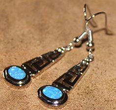 blue fire opal earrings Gemstone silver jewelry chic Roman design 0E
