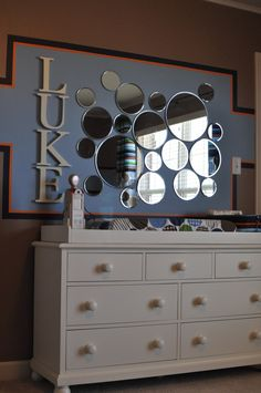 Mirror Wall Arrangement plus i'm glueing sea shells around the mirrors - keep posted for final