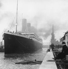 The Titanic sets sail in this photo for the first and last time.