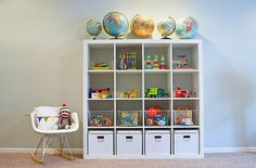 I love the globes, wire baskets, Expedit shelf, and Eames rocker!