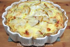 pear and bleu cheese quiche thepaintedapron.com I found this crazy delicious recipe and tried it. I'm totally hooked on it!