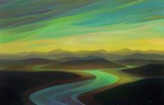 "Landscape by Linda Infante Lyons http://www.lindainfantelyons.com/paintings/ Slana Slough 28"" x 40"""