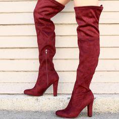 Suede Thigh High Block Heel Boots 99a57baea2de