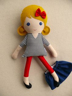 Fabric Doll Rag Doll Blond Haired Girl in Striped by rovingovine