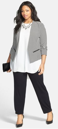 >> Just fit! cool Nordstrom - Sejour 'Jetsetter' Ottoman Knit Jacket (Plus Measurement) by www.globa...