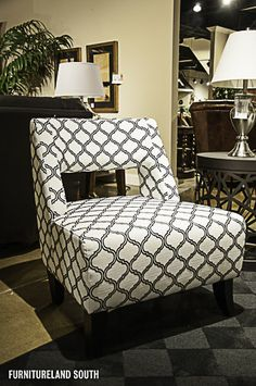 Palliser Furniture  Patterned Black and White Accent Chair with Cutout