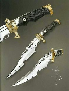 """argendriel: """" """"Sirius Knight"""" """"Arcturus"""" """"Perseus"""" by Jose C. de Braga (from: Art and Design in Custom Fixed-Blade Knives; Katana, Pretty Knives, Cool Knives, Swords And Daggers, Knives And Swords, Beil, Dagger Knife, Concept Weapons, Fantasy Weapons"""