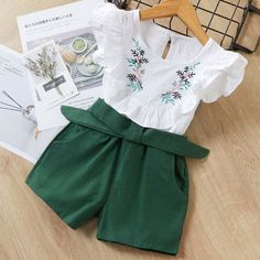Casual Summer Girls Clothing Sets Plaid T-shirt Shorts Two piece Kid Clothes Set - Children's fashion Baby Outfits, Baby Girl Dresses, Short Outfits, Kids Outfits, Cute Outfits, Dress Girl, Baby Shorts, T Shirt And Shorts, Modest Shorts