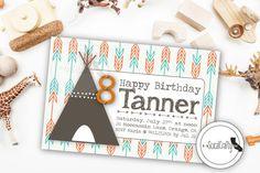 Teepee and Arrow Print Birthday Party Invitation, Digital or Printed