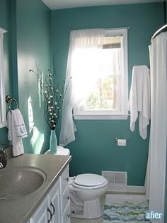 Teal bathroom inspiration. I love teal. Wish I knew the paint color