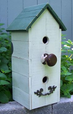 shabby chic birdhouses | shabby chic white birdhouse with vintage hardware, rustic cottage ...
