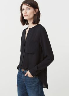 Camisa fluida bolsillos - Camisas de Mujer | MANGO España