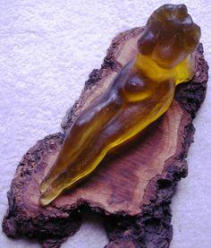 Carole-Anne Lunn, Glass artist. Emerging Wood Nympth